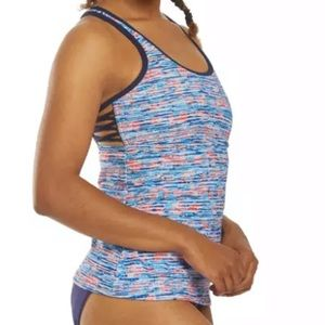 TYR Tankini Swimsuit Top Racerback Abstract Pads